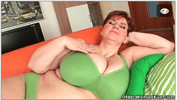 Huge Granny Titties Caressed And Fucked By A Dildo